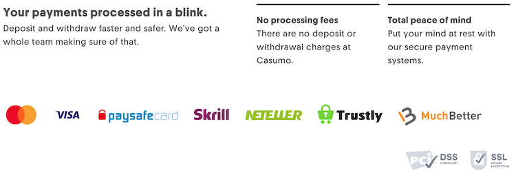 Electronic Payment Systems – Casumo Accepts